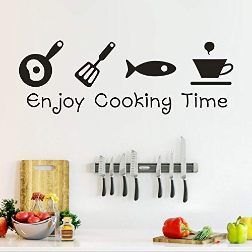 (Viet SC Living Room Decoration - Cartoon Enjoy Cooking time Kitchen Wall Sticker PVC Living Room Kitchen Background Home Decoration Mural Art Decals Stickers N30)