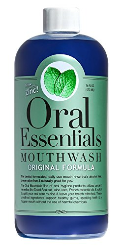 Oral Essentials Mouthwash Fresh Breath 16 Oz. Non-Toxic Alcohol/Sugar Free Dentist Formulated (Peri Gum Mouthwash)