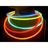 "Glow Sticks Bulk Wholesale Necklaces, 100 22"" Glow Stick Necklaces+100 FREE Glow Bracelets! Asstd Bright Colors, Glow 8-12 Hrs, Connector Pre-attached(Time Saver), Sturdy Packaging, GlowWithUs Brand"