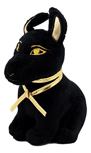 Ebros Small Black & Gold Egyptian Anubis Dog Plush Toy Soft Doll God of Afterlife Jackal Collectible 6