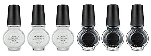 Konad Set - Konad Nail Art Stamping Polish 11ml - Set of 6 (BLACK & WHITE SET)