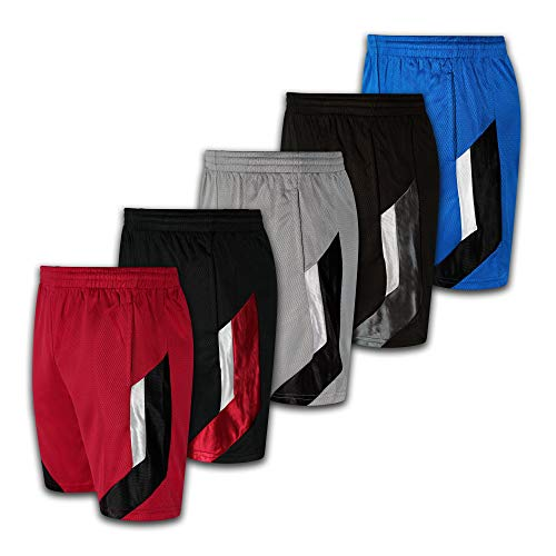 Men's Premium Active Athletic Performance Shorts with Pockets - 5 Pack (Set-7, X-Large) (Brooklyn Basketball Shorts Men)