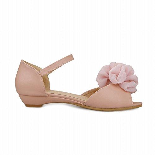 Carol Sko Elegante Kvinners Søt Applikasjon Spenne Peep-toe Eleganse Søte Mary Janes Flats Sandaler Rosa