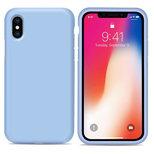 Funda iPhone X, RANVOO Serie de Silicona Líquida Funda Protectora para iPhone 10 Gel de Sílice Líquida PC Dura Caja de Teléfono de la Contraportada a prueba de golpes de Microfibra Suave para iPhone X Azul Claro