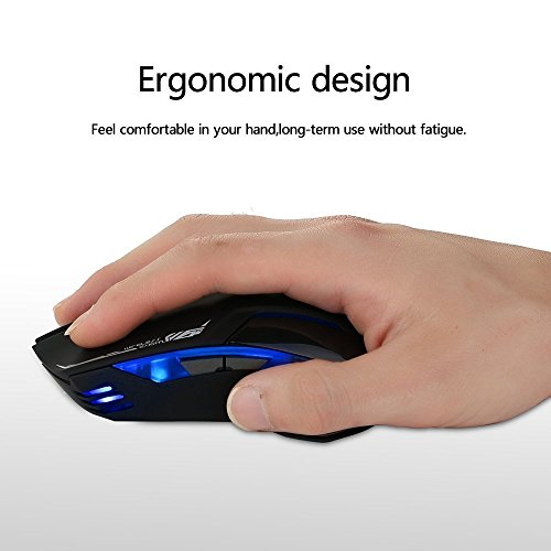 E-3LUE Wireless Gaming Mouse,2.4G Wireless Mouses Portable Optical Computer Mice with USB Nano Receiver and ON/OFF/light Switch,4 Adjustable DPI Levels,Power Saving Cordless Mouse for Laptop, PC, Mac by E-3lue (Image #5)