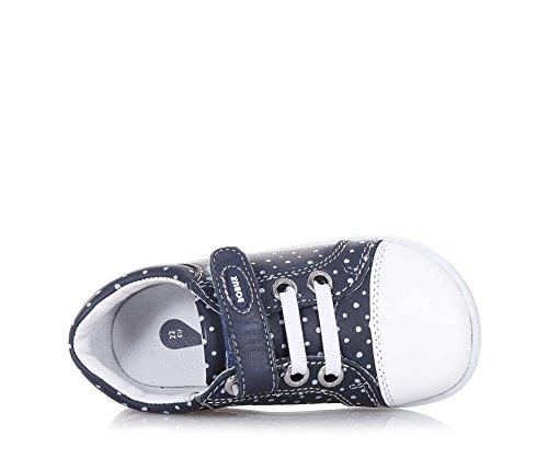 BOBUX - Chaussure I-Walk Trouble bleue en cuir, made in New Zealand, avec motif à pois blancs, Fille, Filles