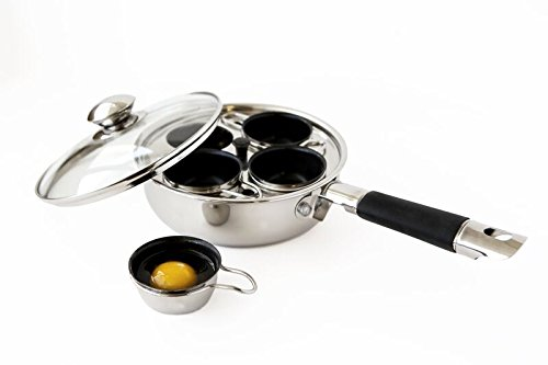 ExcelSteel 521 Non Stick Easy Use Rust Resistant Home Kitchen Breakfast Brunch Induction Cooktop Egg Poacher, 4 Cups, 18/10 Stainless Steel by ExcelSteel