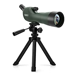 The Emarth 20-60x60mm angled spotting scope is a good choice for the value conscious outdoor enthusiasts and bird watchers. This spotting scope telescope features a 20-60x Zoom Lens for close-up and long range views. Also brings great color a...