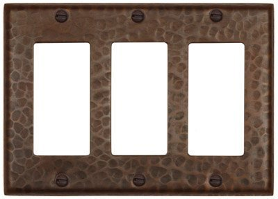 Decora Copper Cover - Hammered Copper Triple GFI Switch Cover-Decora Flat-LSC103