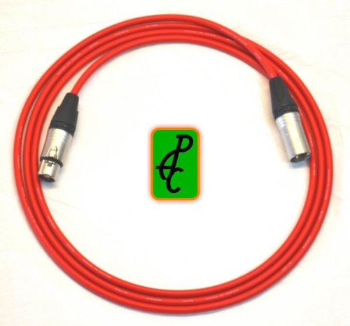 20 ft Canare Quad Microphone Cable Red Neutrik XLR Male - Female (Cable Quad Mic)