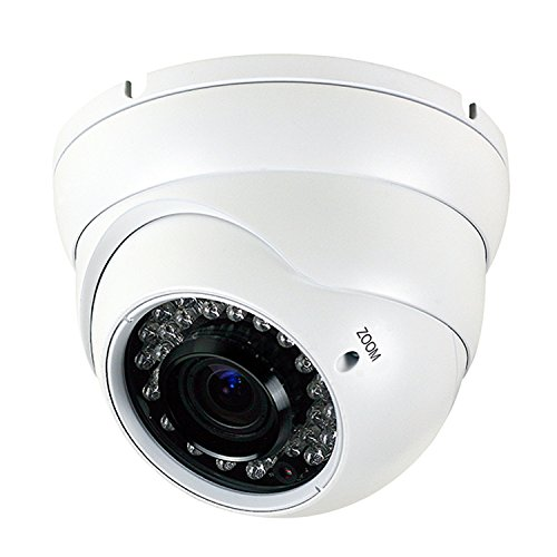 Analog CCTV Camera HD 1080P 4-in-1 (TVI/AHD/CVI/CVBS) Security Dome Camera, 2.8mm-12mm Manual Focus/Zoom Varifocal Lens, Weatherproof Metal Housing 36 IR-LEDs Day & Night Monitoring (White) ()