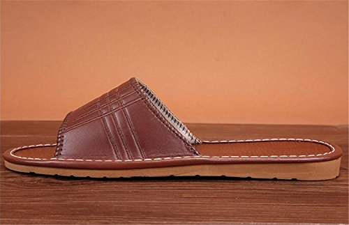 Spring and Vin Mute Autumn Leather Rouge Slippers for Summer TELLW Wooden Women Floor W Men PU qw6XPE5