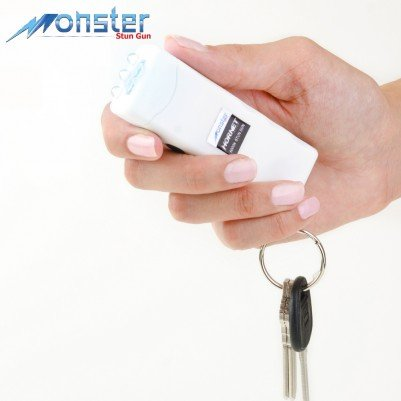 "The Monster ""Hornet"" (White) 6,000,000 Volt Rechargeable Mini Stun Gun With LED Flashlight - The World Smallest Stun Gun Non-Lethal Self Defense Key Chain w/ Lifetime Warranty"