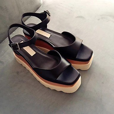 Outdoor Dress Cowhide Whit Sliver amp; Fall Creepers Black CN39 Women'S US8 UK6 Career Sandals RTRY Wedding EU39 amp; Evening Party Summer Office Casual aqtw06cxWU