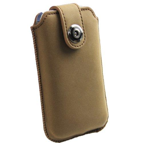 igadgitz Braun Echte Leder Beutel Tasche Schutzhülle Etui Case Hülle Holster für Apple iPhone 4 & 4S 16gb 32gb 64gb