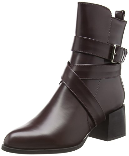 Boohoo Women's Lucy High Block Heel Ankle Boots Red (Bordo) xttsaGaLqZ