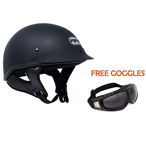 MMG Motorcycle Half Helmet Cruiser DOT Street Legal - Flat Matte Black (Large) + FREE Goggles
