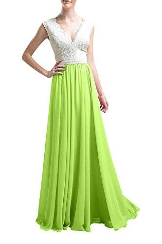 Abschlussballkleider La Lang mia Spitze Linie Partykleider Ballkleider A Gruen Abendkleider Braut Elegant Apfel Rock Chiffon 4wgHUxz4q