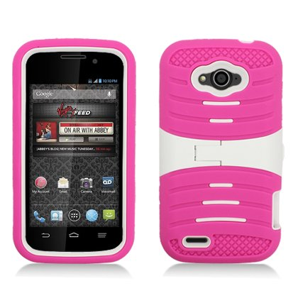 AIMO Rugged Wave Armor Case w/ Built-in Kickstand for ZTE Reef N810 [Virgin Mobile] (Virgin Mobile Reef)