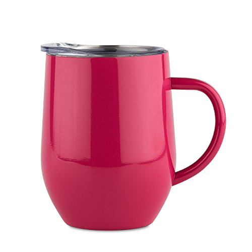 DOKIO 12 oz Coffee Mug Cup With Handle Red Stainless Steel Double Wall Vacuum Insulated With Crystal Clear Lid Great For Ice And Hot Drink Wine Glass For Home Office (Red Stainless Handle)