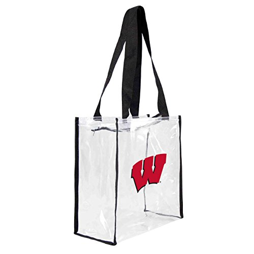 NCAA Wisconsin Badgers Square Stadium Tote, 11.5 x 5.5 x 11.5-Inch, Clear