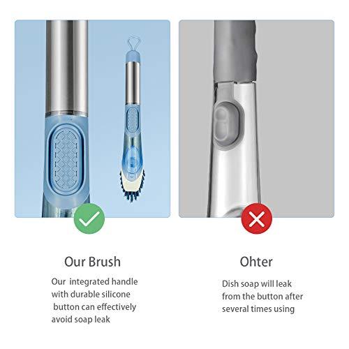 Neilgo 3-IN-1 Soap Dispensing Dish Brush Kitchen Scrub Brush Automatic Liquid Addition Brush Soap Control Dishwand Brush with Handle (Blue)
