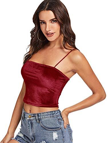 078fdf7ed4197e Romwe Women s Casual Spaghetti Strap Velvet Sleeveless Crop Cami Tank Top  at Amazon Women s Clothing store