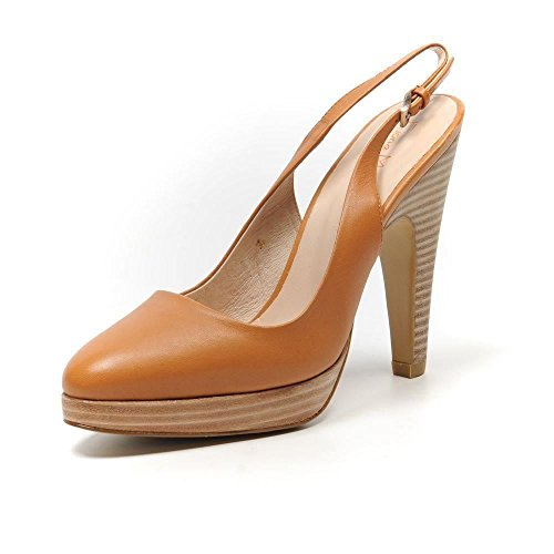 FIONA McGUINNESS Camel Slingback Leather Brown Shoes Hot rqU0xwOq8