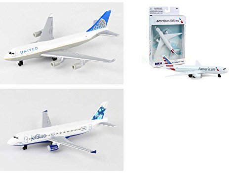 United, American, Jetblue Airlines Diecast Airplane Package - Three 5.5