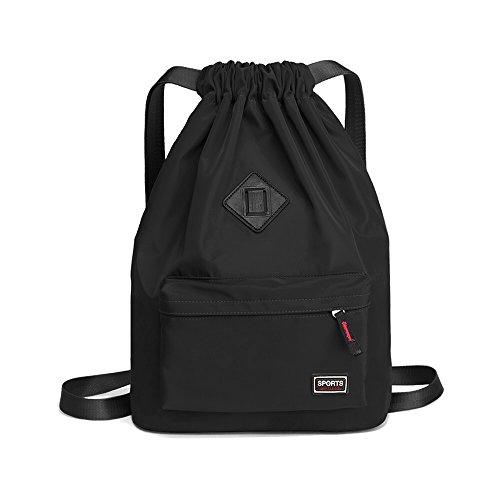 LIFEMATE Drawstring Sport Bag Waterproof Gym Backpack For Men and Women (Black)