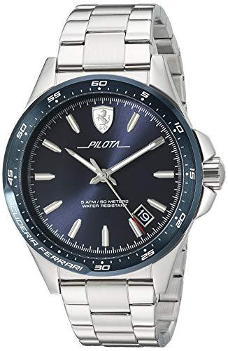 Ferrari Men's 'Pilota' Quartz Stainless Steel Watch, Color:Silver-Toned (Model: 0830527)