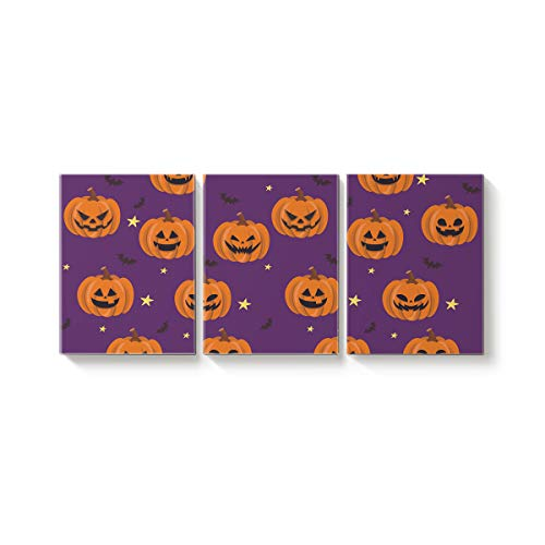 Rocking Giraffe 3 Panels Canvas Prints Wall Art Halloween Purple Pumpkin and Bats Paintings Printed Pictures Modern Art Home Decor Stretched and Framed Ready to Hang for Living Room 20x24inch