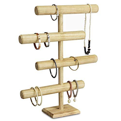 Mooca Wooden 4-Tier Jewelry Display Stand, Wooden Necklace Jewelry Display Organizer Bracelet Holder for Shows, Wooden Bracelet Watch Display Stand, Oak Color