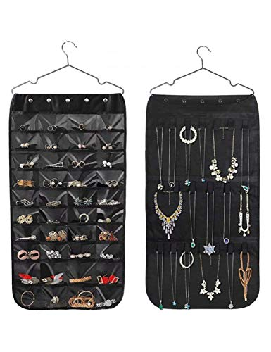 Hanging Jewelry Organizer, Non-Woven Double Sides Jewelry Organizer,40 Pockets with 21 Magic Tape for Necklace Holder Jewelry Chain Organizer Earrings #Black