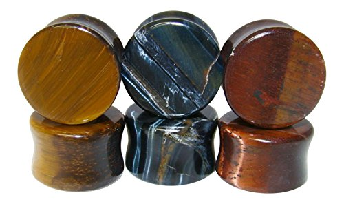 -ALL 3 PAIR- Yellow, Blue & Red Tiger Eye Organic Stone Plugs Double Flare Gauges (3/4
