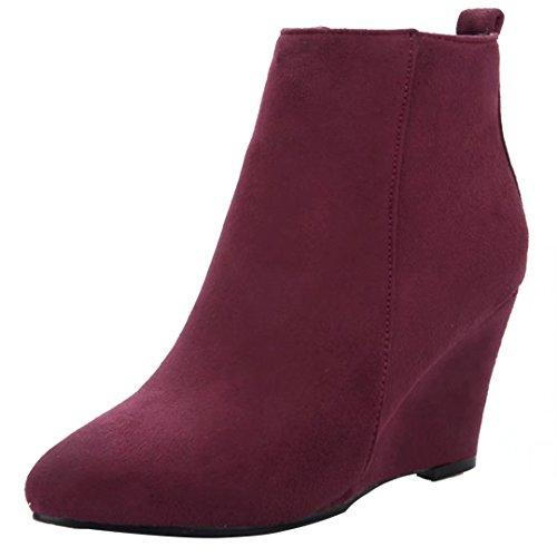 AIYOUMEI Women's Classic Boot Wine Red W31Uqol