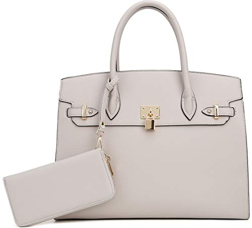 DELUXITY Women's Designer Top Handle Satchel Handbag Tote Bag Briefcase 2pc set | Stone
