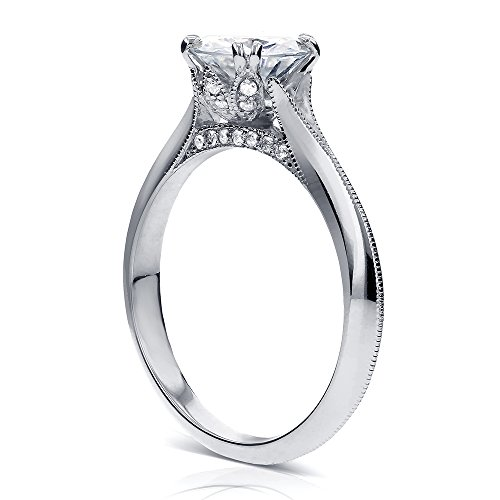 Vintage Moissanite Engagement Ring with Diamond 1 1/10 CTW 18k White Gold