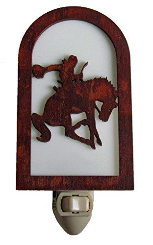 Rustic Cowboy Nightlight Made in USA Western Decor Bucking Bronco (Night Light Western)