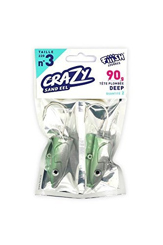 Fiiish Crazy Sand Eel 220 2 Pearl Green Jig Heads - Deep 90g by Fiiish Crazy (Sand Eel Green)