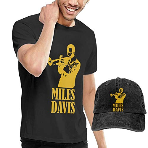 PeterLLowery Miles Davis T Shirt Men's Short Sleeve Tees Baseball Cap L Black