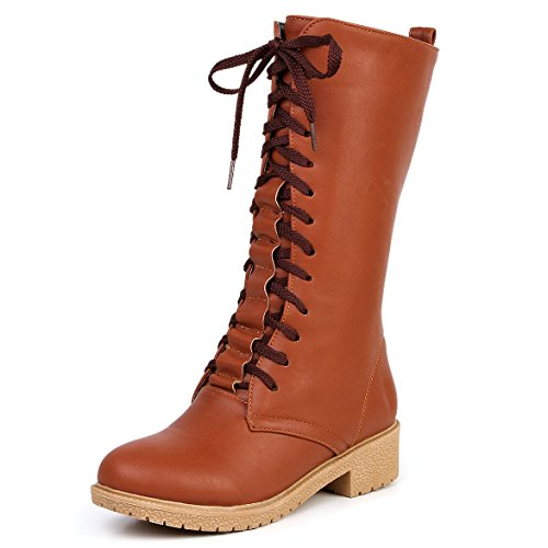 toe High Heel Low Boots Yellow Knee Round Womens up Lace High Warm Boots Winter AIWEIYi Thigh I8qw1cEa