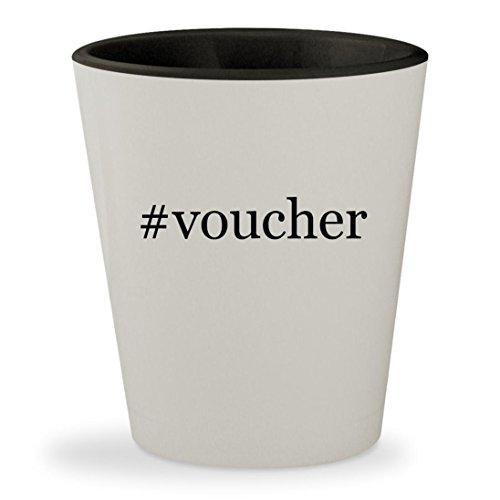 #voucher - Hashtag White Outer & Black Inner Ceramic 1.5oz Shot Glass