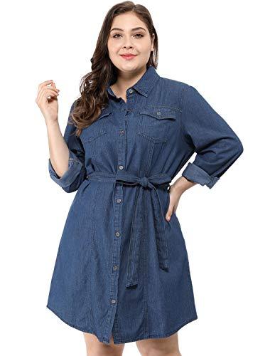 (Agnes Orinda Women's Plus Size Long Sleeves Denim Above Knee Belted Shirt Dress 2X Blue)