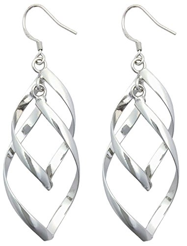 Tapp Collections™ Fashionable Sterling Silver Double Marquise Loops Design Earrings
