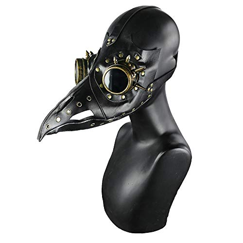 Black Mask Men's Gothic Plague Doctor Bird Mask Black PU Leather Long Nose Beak with Bronze Meatl Rivets Halloween Cosplay Costume Party Retro -