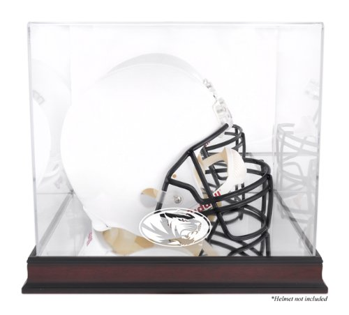 Missouri Tigers Logo Helmet Display Case | Details: Mahogany, Mirrored Back, Bottom