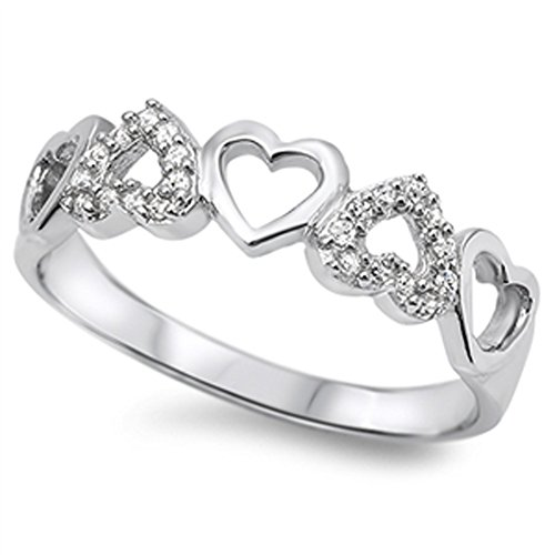 White CZ Cute Heart Cutout Ring New .925 Sterling Silver Thumb Band Size 10