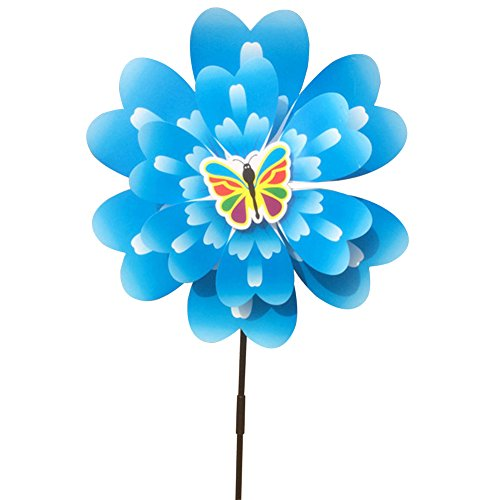 (Jesse Peony Flower Wind Spinner Double Layers 3D Colorful Funny Windmill for Yard Garden Blue)