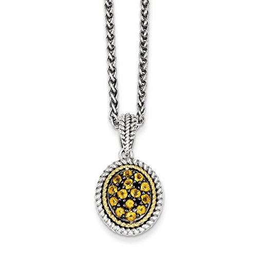 ICE CARATS 925 Sterling Silver 14kt Yellow Citrine Chain Necklace Pendant Charm Gemstone Fine Jewelry Ideal Gifts For Women Gift Set From Heart (Pendant Citrine Set)
